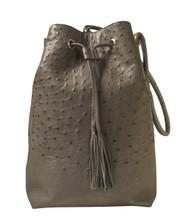 Bucket/Drawstring - Grey Ostrich