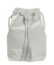 Bucket/Drawstring - White Ostrich
