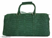 Aino Duffel -Green Suede - Nile Crocodile
