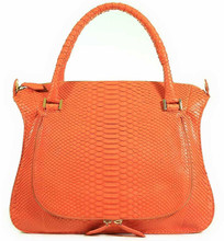 Saddle Messenger Bag - Python Orange