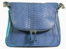 Zippered Messenger Saddle Bag - Python in Denim