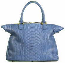 Wing Tipped Tote - Python in Denim