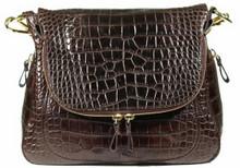 Zippered Messenger Saddle Bag - Alligator Belly in Dark Brown