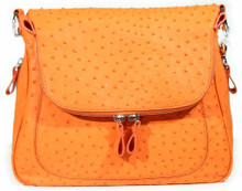 Zippered Messenger Saddle Bag - Ostrich in Tangerine Orange