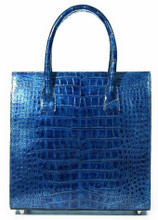 Tote with Pleated Gussets - Alligator with a Poly Foil Finish in Blue