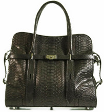 Strap Tote with Adjustable Handles - Python in Matte Black