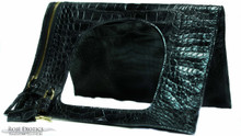 Fold Over Small Shoulder Bag - Alligator with Matte Waxy Finish in Black