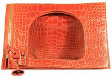 Fold Over Small Shoulder Bag - Alligator with Matte Waxy Finish in Orange