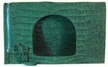 Fold Over Large Shoulder Bag - Green Buffed- Suede Nile Crocodile