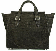 Trapeze Grande - Nile Crocodile with Suede Finish in Black