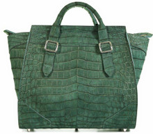 Trapeze Grande - Nile Crocodile with Suede Finish in Green
