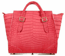 Trapeze Grande - Nile Crocodile with Suede Finish in Red