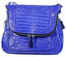 Zippered Messenger Saddle Bag - Caiman Belly in Electric Blue
