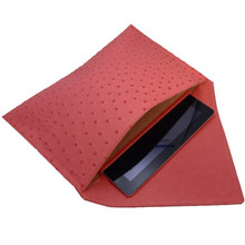 Kennedy - Ostrich Oversized Envelope Clutch with Cushioned iPad Compartment - Red