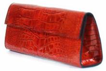 Sabrina - American Alligator Clutch in Poly Millenium Orange-Red