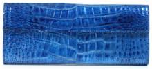 Sabrina - American Alligator Clutch in Poly Millenium Blue