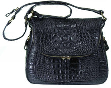 Zippered Messenger Saddle Bag - Alligator Hornback in Black