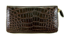 Zippered Wallet - American Alligator - Brown