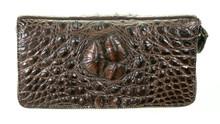 Zippered Wallet - Ameican Alligator Hornback - Brown Millennium Waxy