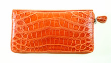 Zippered Wallet - American Alligator Belly - Orange Millennium Waxy