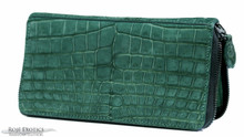 Zippered Wallet - Nile Crocodile Belly - Emerald Suede - Gun Metal