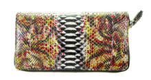 Zippered Wallet - Python - Glazed Multicolor Forest (Vertical Scales) Silver Tone