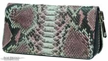 Zippered Wallet - Python - Matte Pink Unbleached - Metal Zipper Pull