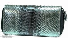Zippered Wallet - Python - Glazed Metallic Silver w/ Purple