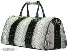 Aino - Duffel Bag in Natural Python with black Crocodile Backstraps
