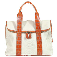 Fold Over Zippered Tote - White Python trimmed in Alligator