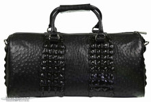 Aino Duffel - Black Ostrich Trimmed with Black Nile Crocodile