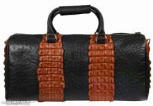 Aino Duffel - Black Ostrich Trimmed with Cognac Nile Crocodile