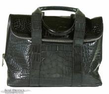 Fold Over Zippered Tote - Black & Grey Alligator