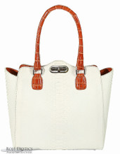 Winged Shopping Tote - White Python & Orange Alligator