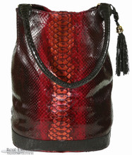Bucket Bag - Dark Red Glazed Python Trimmed in Alligator