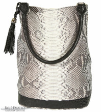 Bucket Bag - Natural Markings Matte Python Trimmed in Alligator
