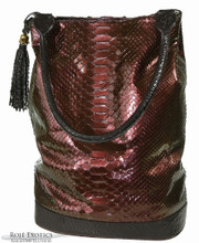 Bucket Bag - Pearlized Burgundy Python Trimmed in Alligator