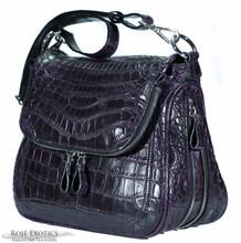 Zippered Messenger Saddle Bag - Nile Crocodile Belly - Dark Purple