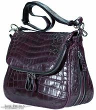 Zippered Messenger Saddle Bag - Nile Crocodile Belly - Burgundy