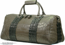 Duffel Bag - Grey Crocodile Belly & Black Crocodile Backstraps