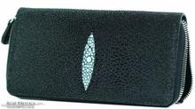 Zippered Wallet - Stingray - Black Caviar