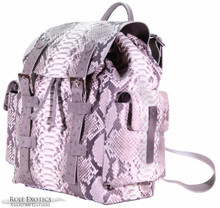 Backpack - Reticulated Python & Ostrich - Natural Markings Matte (Trimmed with Grey Ostrich)