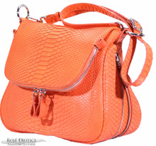 Zippered Messenger Saddle Bag - Python - Orange Matte