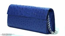 Sabrina Clutch - Ostrich - Royal Blue Matte