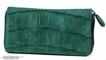 Zippered Wallet - Nile Crocodile Belly - Emerald Suede - Gun Metal 2