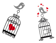 Birds, birdcage wall decal