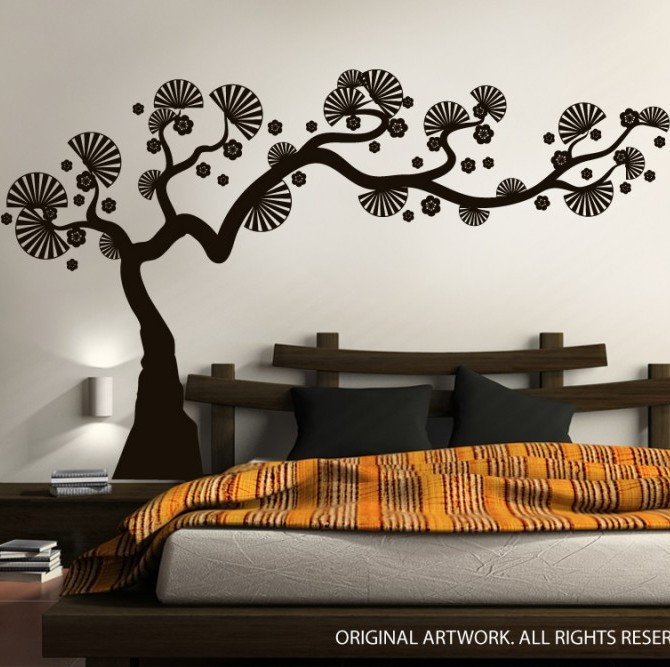 Modern bonsai tree wall decal - Decorative wall sticker ...