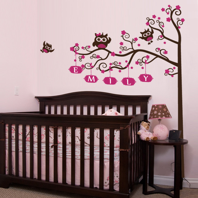 nursery crib name tree owls wall decal. Black Bedroom Furniture Sets. Home Design Ideas