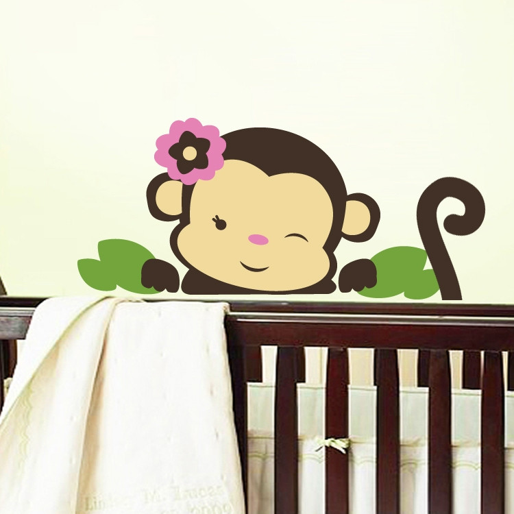 monkey wall decal. Black Bedroom Furniture Sets. Home Design Ideas