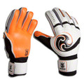 Size 7 Brine Triumph 3X Fingersave Goalkeeper Gloves   Color: White with Orange and Black